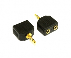 3.5MM Audio Plug  To 2 Socket Adaptor