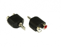 3.5MM Plug To 2 RCA F Adaptor